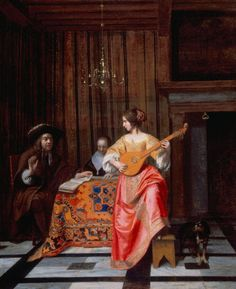 Woman with a Cittern and a Singing Couple at a Table - Pieter de Hooch, Holland, about 1667   - Taft Museum of Art, Cincinnati