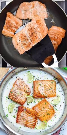 This Creamy Salmon recipe is easy to make and a delicious low carb salmon dinner recipe that's so tasty and quick to put together. Keto-friendly, made in one pan and ready in just under 30 minutes. Seared Salmon Recipes, Healthy Salmon Recipes, Fish Recipes, Seafood Recipes, Keto Recipes, Cooking Recipes, Cake Recipes, Dinner Recipes, Salmon Recipe Pan