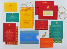 Sheebani + Devin's The Darjeeling Limited-inspired screenprinted wedding invitation suite, from Oh So Beautiful Paper.