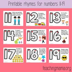 Free number formation rhymes posters for the numbers Great to use in the classroom with preschoolers and kindergarteners. Kindergarten Syllabus, Kindergarten Posters, Kindergarten Anchor Charts, Numbers Kindergarten, Teaching Numbers, Kindergarten Math Activities, Numbers Preschool, Writing Numbers, Math Numbers