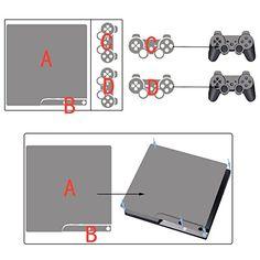TQS™ Autocollant de peau pour la console Slim de Playstation 3 + deux Decals pour les Dualshock controleurs – Skull of Blue Fire