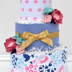 Floral Baby Shower Diaper Cake Decoration, Felt Flower Diaper Cake by Baby Blossom Company