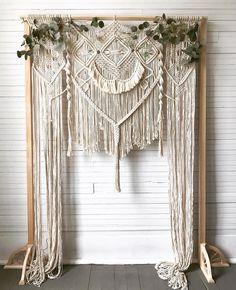 42 Most Pinned Wedding Backdrop Ideas 2019 wedding backdrop ideas macrame backdrop flourishfibers. Macrame Wall Hanging Patterns, Macrame Art, Macrame Design, Macrame Projects, Macrame Patterns, Diy Backdrop, Ribbon Backdrop, Macrame Curtain, Wedding Background