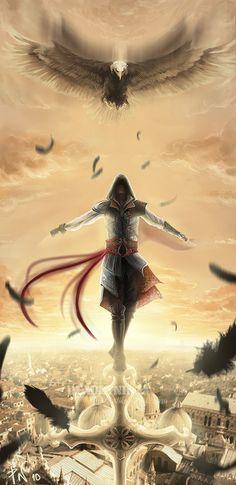 ..Ezio:Into the sky:... by DeadlyNinja on deviantART