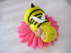 Bumble Bee Baby Cake Topper READY TO BE Shipped Already Made Light Skin 5 Inch