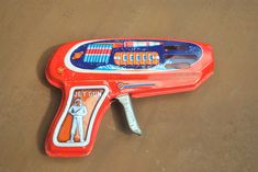 1960s Japanese Tin Toy Space Gun. Vintage Working Metal Toy Jet Gun. by GoldenGully on Etsy