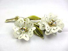 Coro White Enamel AB Rhinestone Flower Brooch 1930s by OurBoudoir