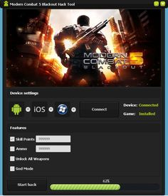 Modern Combat 5 Blackout Hack Cheats Tool   Modern Combat 5 Blackout Hack is Modhacks.com a new tool, that we all want to present to you. If you ever glimpse at all the other hacks on line, this amazing tool is the most effective. This specific tool was made to be functioning on Android os …