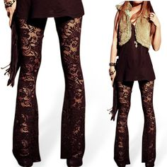 5570375295ab30 2016 New Arrival Vintage Hollow Out Floral Crochet Lace Flare Pants Sexy  Casual Black Flare Pants