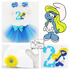 Who wouldn't want to be Smurfette for their 2nd birthday? An adorable appliquéd tutu outfit for a special birthday girl. By Paisley Pinwheels www.facebook.com/paisleypinwheels