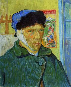 December Van Gogh chops off his ear Vincent van Gogh painted this self-portrait after a quarrel with fellow artist Paul Gauguin at Arles during which he threatened Gauguin with a razor. In remorse, he cut off part of his own ear. Paul Gauguin, Van Gogh Portraits, Van Gogh Self Portrait, Vincent Van Gogh, Van Gogh Museum, Famous Self Portraits, Van Gogh Arte, Van Gogh Pinturas, Art Occidental