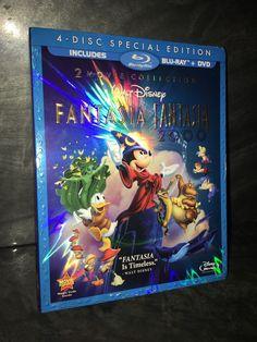 Fantasia/Fantasia 2000 Blu-Ray/DVD Disney 4-Disc w/ RARE SLIPCOVER OOP