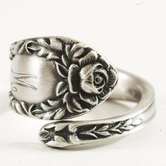 Petite Art Nouveau Rose Sterling Silver Spoon Ring by Spoonier