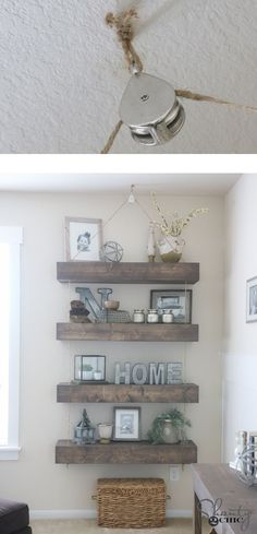 LOVE these floating shelves! They use rope and a pulley to give them a cool hanging look! Free plans and tutorial on how to make them... www.shanty-2-chic.com