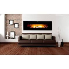 Frigidaire, Valencia 50 in. Wall-Mount Electric Fireplace in Black, VWWF-10306 at The Home Depot - Mobile