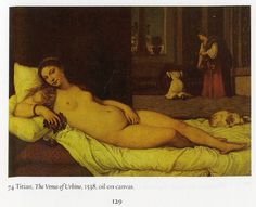 The Sensory World of Italian Renaissance Art. Francois Quiviger. Titian, The Venus of Urbino, 1548, oil on canvas. I chose this painting because there are so many hidden meanings. The dog on her bed is a symbol of fidelity. The maidens in the background are a symbol of wealth. The pale complexion of her skin and the white sheets are a symbol of purity.
