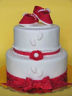 Red baby booties cake by bubolinkata, via Flickr