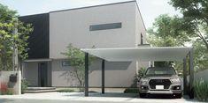 2台置きの駐車スペースも、すっきりと美しく。SC ワイド:54-50型 柱・梁:ブラック 屋根材:ナチュラルシルバーF