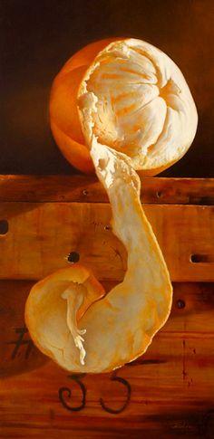 fantastic view of a peeled orange Number Thirty-five.  Mickie Acierno. Oil