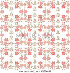 Damask pattern with blooming sakura. Seamless floral background with hand drawn…