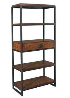 Vintage Umber/Distressed Iron Bookcase Etagere