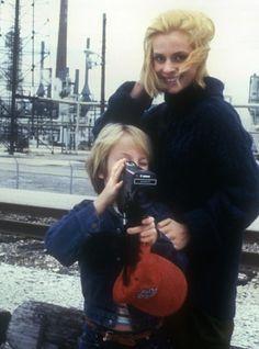 Nastassja Kinski and Hunter Carson on the set of Paris, Texas