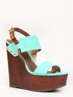 Soda CHEF Wide Strap Wooden Wedge Sandal -  $32.00. These shoes!!!
