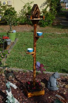 Distressed Bird house and feeder with by BKCustomCreations on Etsy, $80.00