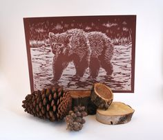 CLEARANCE // bear // grizzly river wilderness nature brown rustic home decor // limited handmade linocut print by black wood print shop by BlackWoodPrintShop on Etsy, Theresa Williams, 2010.