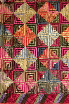 Quilter's Pastiche - Log Cabin, 1850-1875, Silk, pieced. The size indicates that it's a parlor throw and not a bed cover.