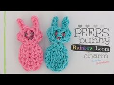 Rainbow Loom PEEPS BUNNY Charm. Designed and loomed by SoCraftastic. Click photo for YouTube tutorial. 04/16/14.