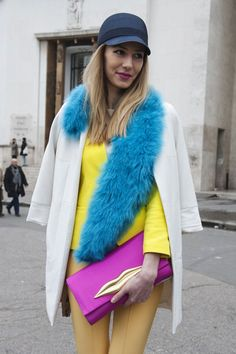 Très Chic! The Best Street Style at Paris Fashion Week: The range of brights in this attendee's look caught our attention outside the shows.