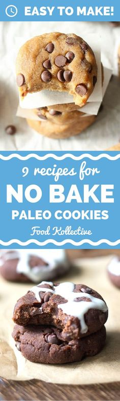 I was looking for no bake paleo cookies and these look incredible! There are recipes for Paleo chocolate chip cookies, Paleo samoa cookies, Paleo white chocolate macadamia nut cookies, and more. No baking required! I can't wait to make these for a Paleo dessert. Collected on http://FoodKollective.com