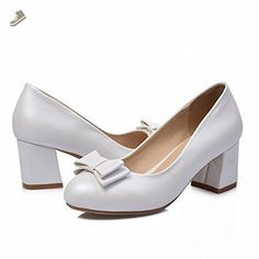 Latasa Women's Fashion Bow Block Mid-heel Dress Pumps Shoes (6, white) - Latasa pumps for women (*Amazon Partner-Link)