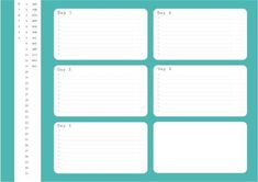 The turquoise background on this design complements the white lists brilliantly. To-do lists for each day combine to form an in-depth weekly planner. Weekly Planner Template, Family Calendar, Turquoise Background, Planning Your Day, Planners, Track, Templates, Activities, How To Plan