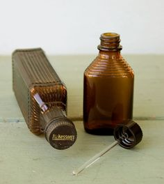 Small Brown Vintage Medical Bottles. I love these!  Perfect for homemade herbal mixtures!