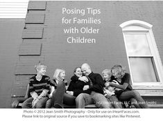 Family photo inspiration for families with older children. Free posing guide by Jean Smith via I Heart Faces.