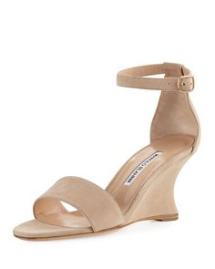 4c2b4ed923a4 Shop Lauratowe Suede Wedge Sandal from Manolo Blahnik at Neiman Marcus Last  Call