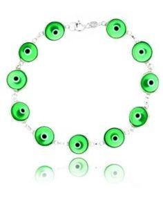 pulseira olho grego verde claro prata 925