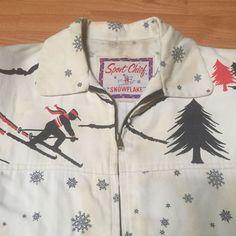 "VINTAGE 1950'S ""SPORT CHIEF"" SNOWFLAKE SKIER GABARDINE ROCKABILLY JACKET -38- NR"