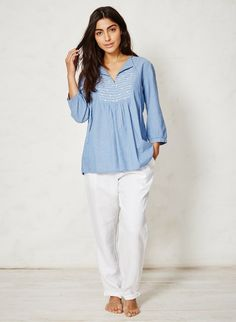 Organic cotton chambray top