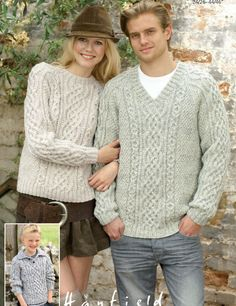 Amazing Aran Sweaters Free Knitting Pattern. Round neck and v neck sweater patterns for all ages with beautiful aran cable stitch. Free Pattern