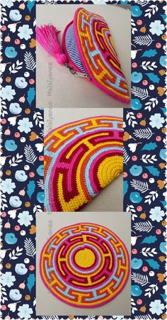 handmade mochila wayuu  crochetbag Crochet Clutch Pattern, Crochet Patterns, Tapestry Bag, Tapestry Crochet, Hand Embroidery Stitches, Crochet Purses, Knitted Bags, Diy Bags, Knitting Designs