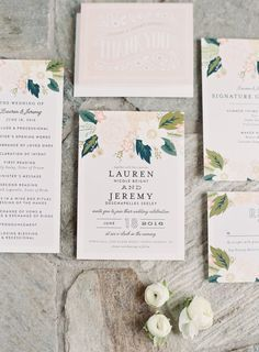Elegant floral wedding paper suite: http://www.stylemepretty.com/2016/09/10/blush-pink-pippin-hill-vineyard-wedding/ Photography: Micheal and Carina - http://www.michaelandcarina.com/