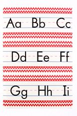 Isabella Collection, Alphabet & Numbers Bulletin Board Set, Red Chevron, 12 Pieces