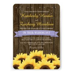 LAVENDER RUSTIC SUNFLOWER WEDDING INVITATION