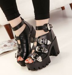1c223bc4e9a Free shipping fashion platform sandals 2014 ladies punk shoes pumps chunky  high heels belt buckle casual