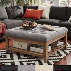 Inspire Q Lennon Pine Planked Storage Ottoman Coffee Table by Artisan Grey [Grey Linen]- Button Tufts Shabby Chic Living Room, Shabby Chic Kitchen, My Living Room, Shabby Chic Furniture, Living Room Furniture, Living Room Decor, Rustic Furniture, Cottage Living, Modern Furniture