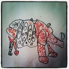"""""""Line-O Rhino"""" by Matt, age 5"""
