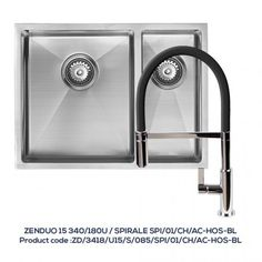 ZENDUO 15 340/180U 1.5 Bowl Sink with SPIRALE Chrome Tap with Black Hose